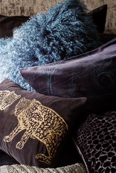 Biba Embroidered leopard cushion