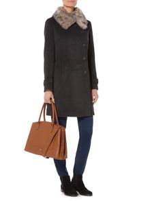 Dickins & Jones Longline Coat with Detachable Faux Fur Collar