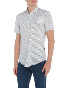 Hugo Boss Ronn slim fit micro geo print short sleeve shirt