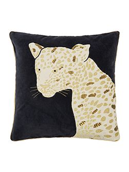 Applique leopard cushion