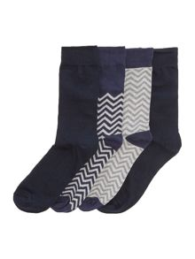 Jack & Jones 4 Pack Print and Plain Socks