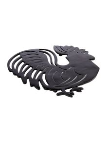 Linea Black chicken metal trivet