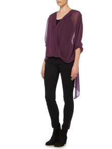 Label Lab Cross over dip hem blouse