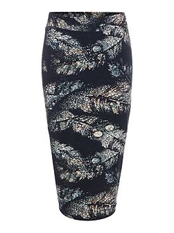 Feather print jersey skirt