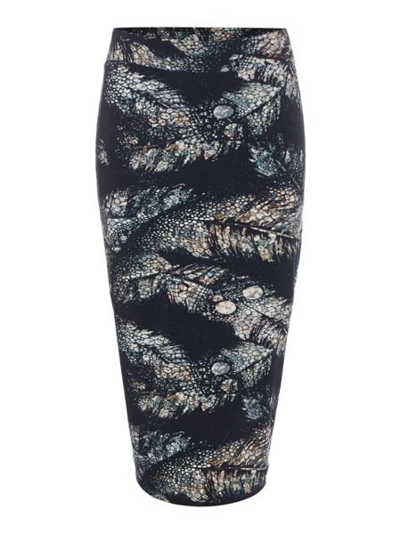 Label Lab Feather print jersey skirt