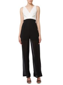 Wal-G Sleeveless V Neck Wide Leg Jumpsuit