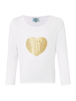 Girls Glittery sequin heart top