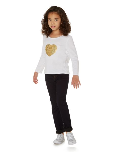 Little Dickins & Jones Girls Glittery sequin heart top