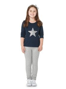 Little Dickins & Jones Girls Glittery sequin star top