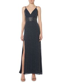 Lace and Beads Sleeveless V Neck Maxi Dress