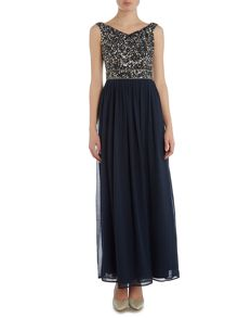 Lace and Beads Off Shoulder Embellished Top Maxi Dress