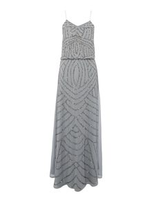 Lace and Beads Sleeveless Dress With Blouson Top