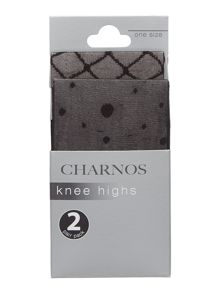 Charnos 2 pack spot and diamond knee highs