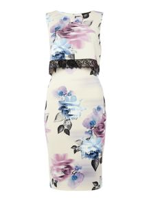 Lipsy Sleeveless Floral Overlay Dress With Lace Detail