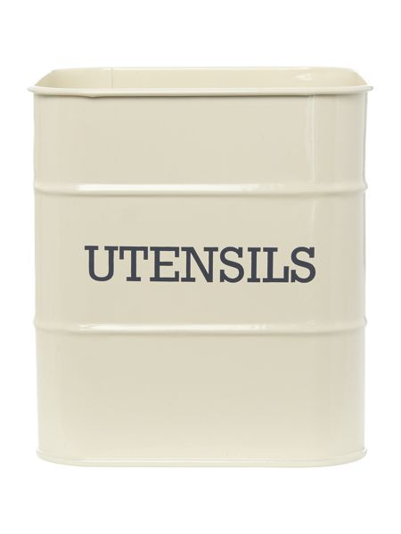 Linea Cream tin utensil pot
