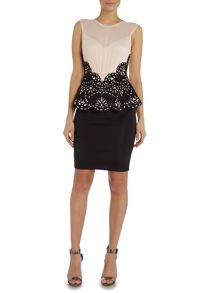 Lipsy Cap Sleeve Laser Cut Bodycon Peplum Dress