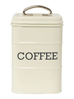 Cream tin coffee storage jar