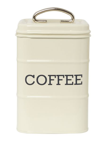 Linea Cream tin coffee storage jar