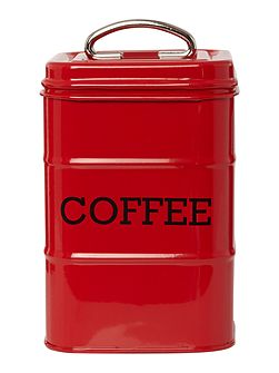 Red tin coffee storage jar