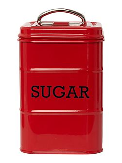 Red tin sugar storage