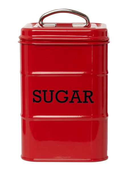 Linea Red tin sugar storage