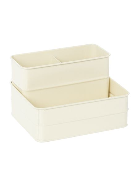 Linea Cream tin sink caddy