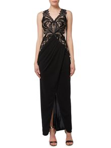 Lipsy Sleeveless V Neck Lace Applique Maxi Dress