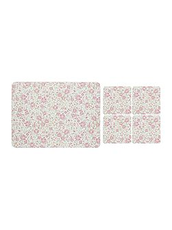 Pink Floral Placemat & Coaster Set of 8