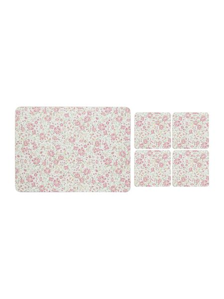 Shabby Chic Pink Floral Placemat & Coaster Set of 8