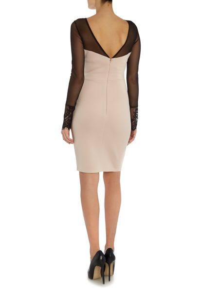 Lipsy Long Sleeve Lace Overlay Insert Bodycon Dress