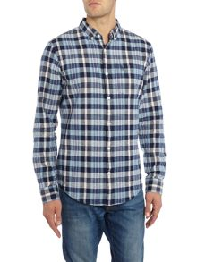 Original Penguin Doresey Indigo Madras Long Sleeve Shirt