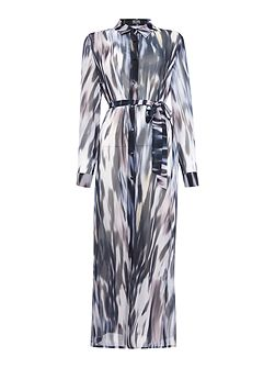 Long Sleeve Print Maxi Shirt Dress
