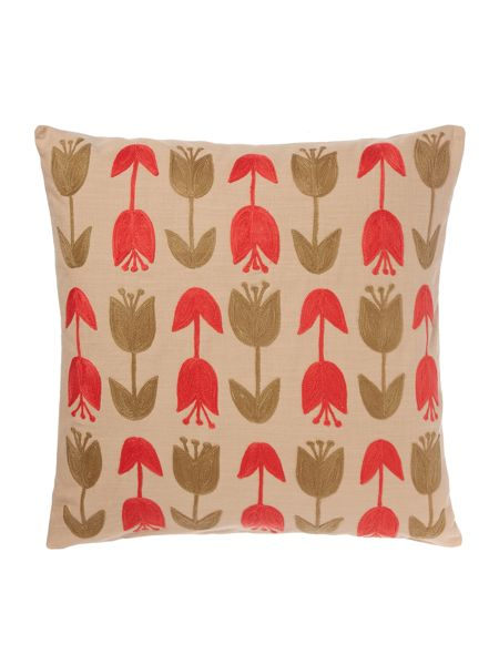 Dickins & Jones Embroidered tulip cushion, coral
