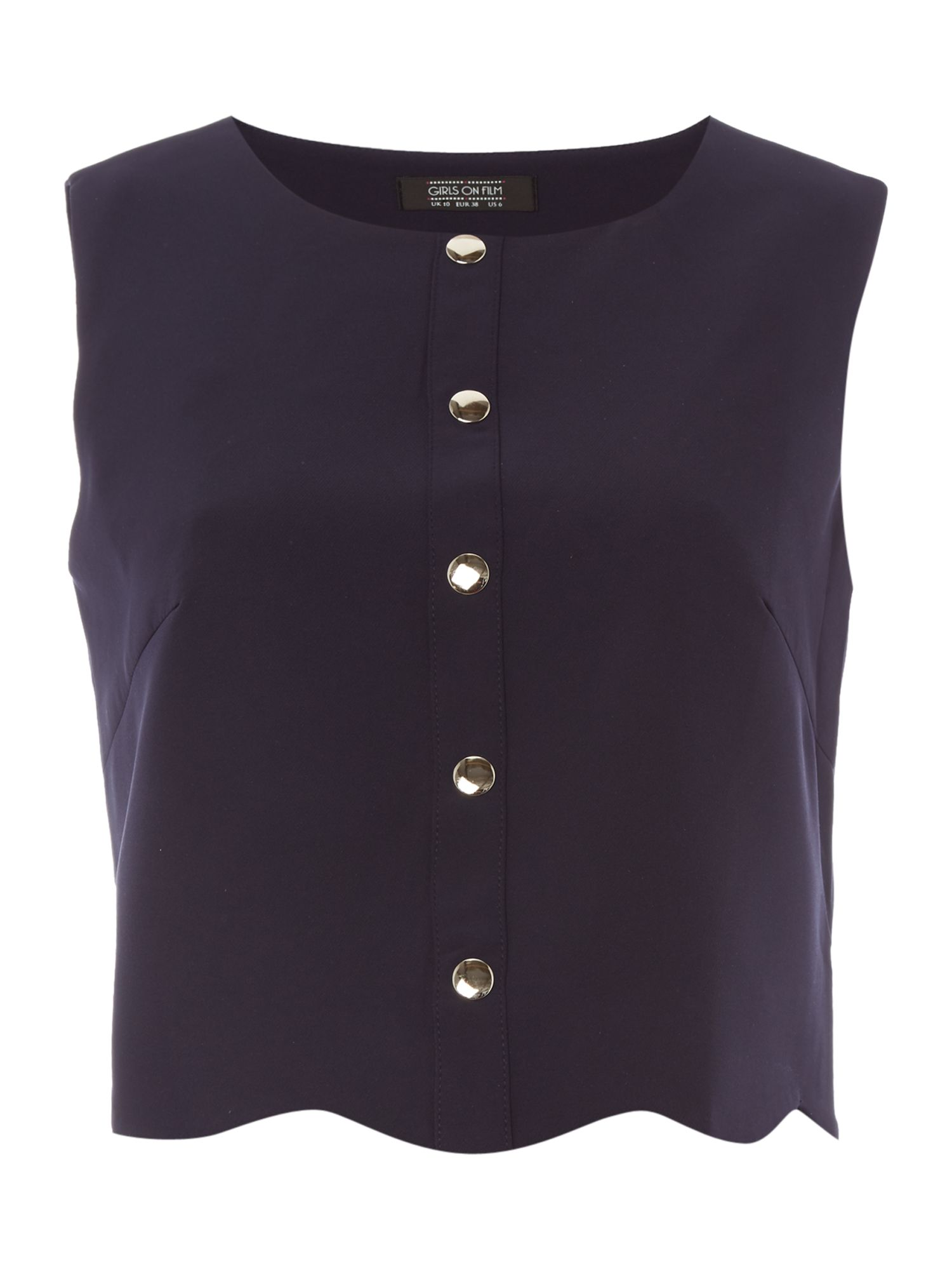 Girls on Film Girls on Film Sleeveless Button Front Top, Navy