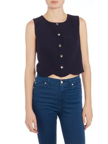 Girls on Film Sleeveless Button Front Top