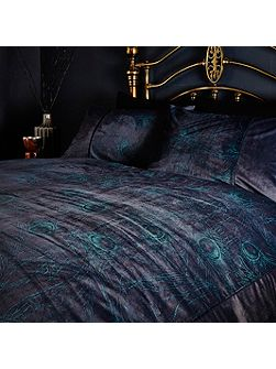 Peacock velvet print pillowcase pair