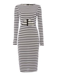 Girls on Film Long Sleeve Keyhole Midi Stripe Dress