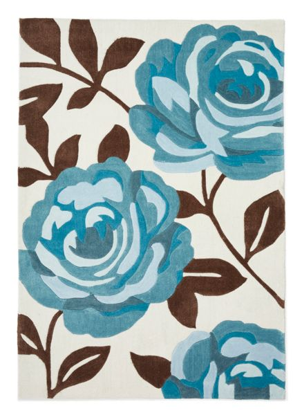 Origin Rugs Teal Rose Bloom Rug 80/150