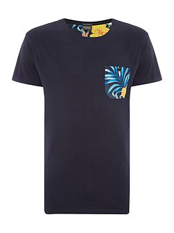 Short Sleeve Floral Pocket Crew Neck T-Shirt
