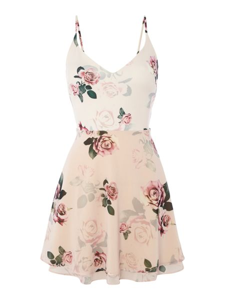 Lipsy Ariana Grande Floral Fit & Flare Dress