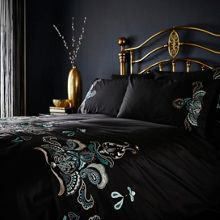 Biba Teal embroidery pillowcase pair