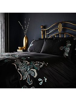 Teal embroidery pillowcase pair