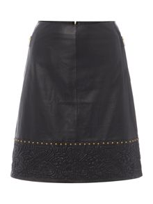 Biba Logo and stud real leather skirt