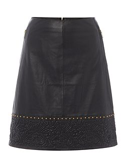Logo and stud real leather skirt