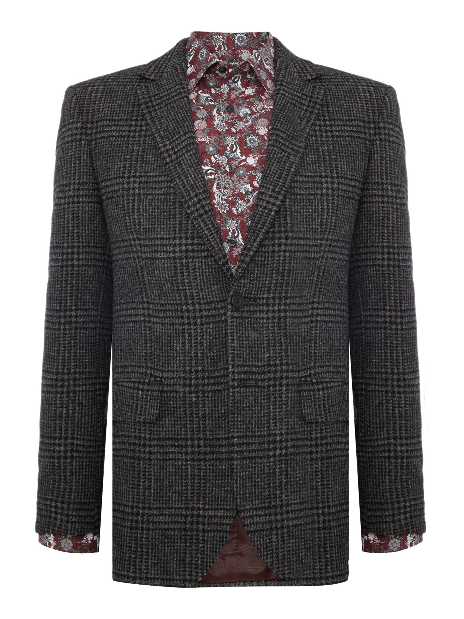 New & Lingwood Men's New & Lingwood Gainsborough Lambswool POW check blazer, Grey
