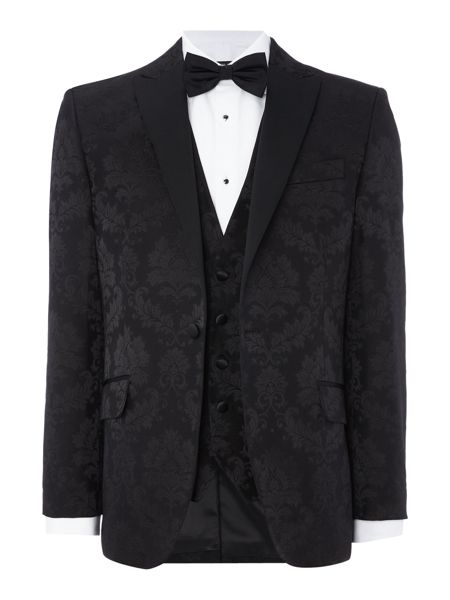 New & Lingwood Downton SB1 black satin peak lapel blazer