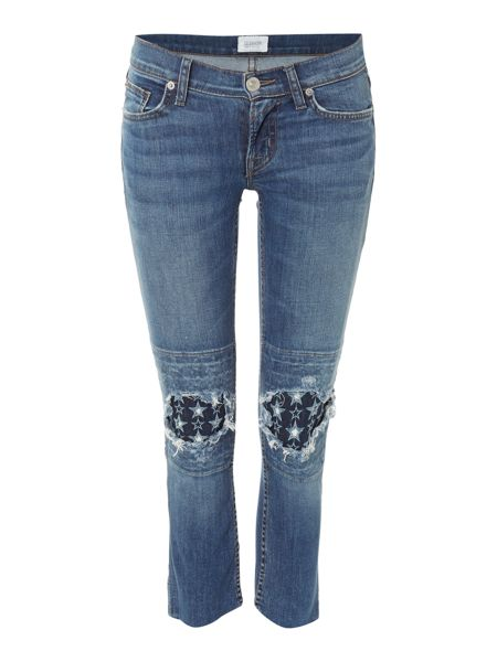 Hudson Jeans Muse Crop Skinny Raw Hem jean in burn out