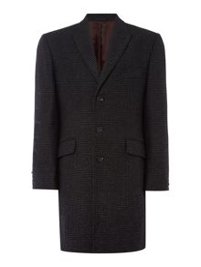 New & Lingwood Wilmington SB3 peak lapel check covert coat