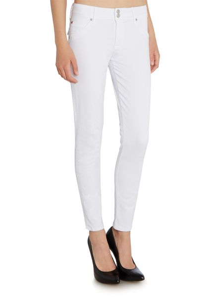 Hudson Jeans Collin mid rise ankle skinny jean in white 2