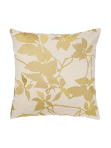 Linea Embroidered leaf cushion, lime
